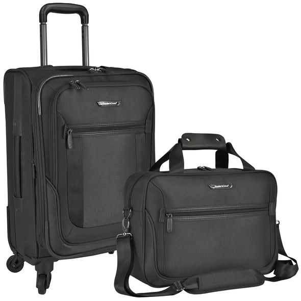 An image of a black luggage and a black carry on.