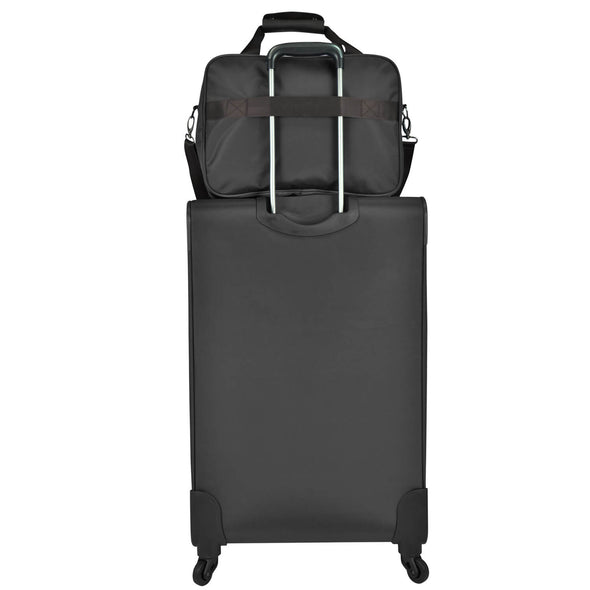 An image of a black tluggage and a black carry on.