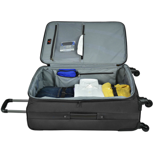 An image of a black luggage and its silver interior.