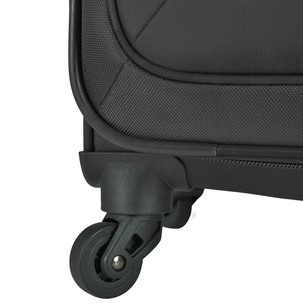 An image of a black luggage with black wheels.