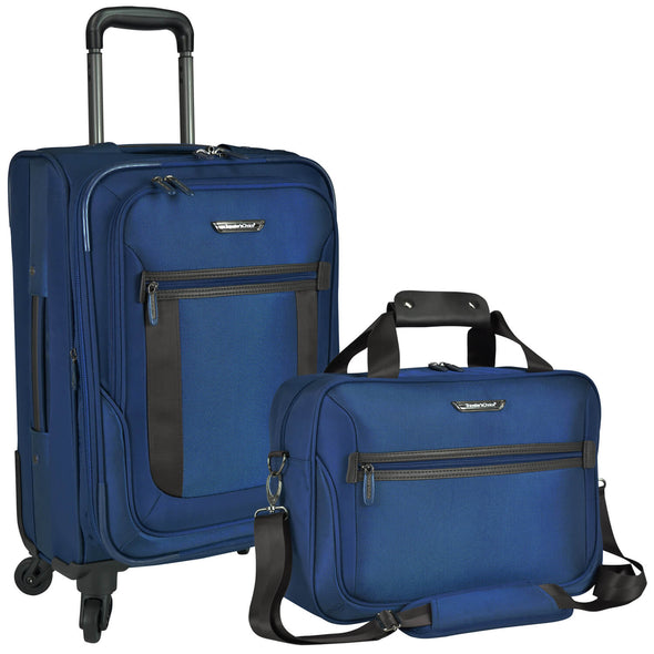 An image of a blue luggage and a blue carry on.