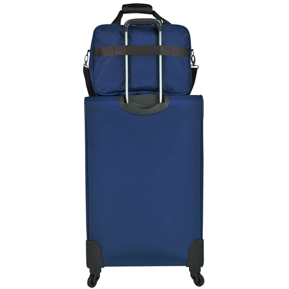 An image of the back of a blue luggage with a blue carry on