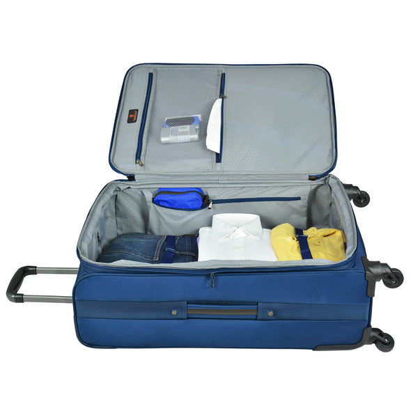 An image of the interior of a blue luggage.