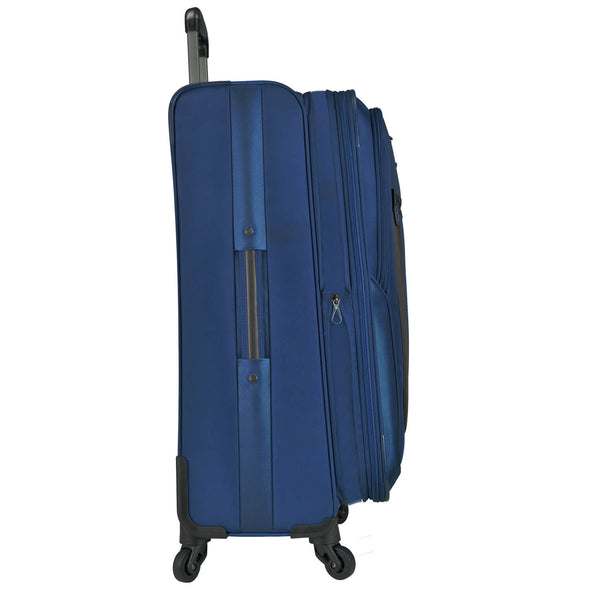 An image of the side of a blue luggage.