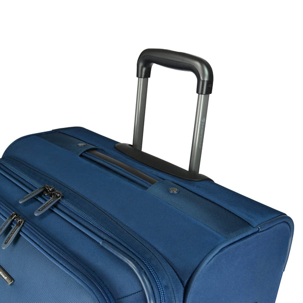 An image of a blue luggage with a handle system.