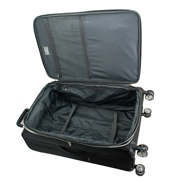 An image of the interior of a gray luggage.