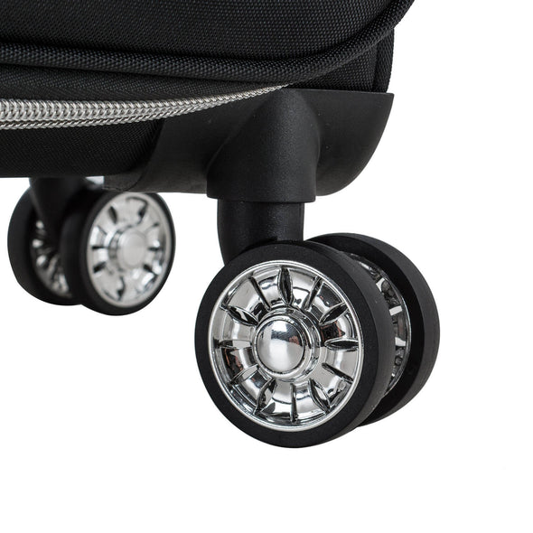An image of a wheels on the black luggage.