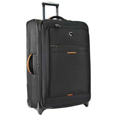 An image of a black luggage with orange accents.