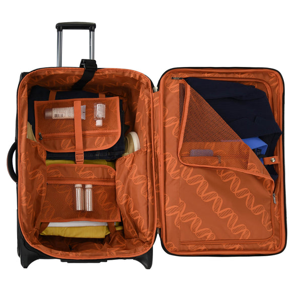 Full interior lining with zippered mesh pocket. Tie-down straps to secure your belongings. U-shape zippered lid pocket for shirts and accessories