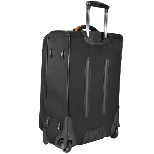 An image of the back of a black luggage with orange accents.