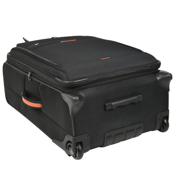 An image of a black luggage with orange accents laying on its back.
