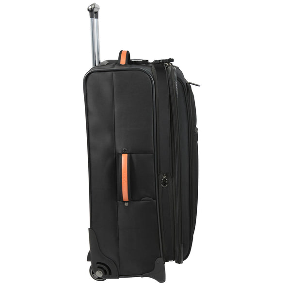 An image of the side of a black luggage with orange accents.