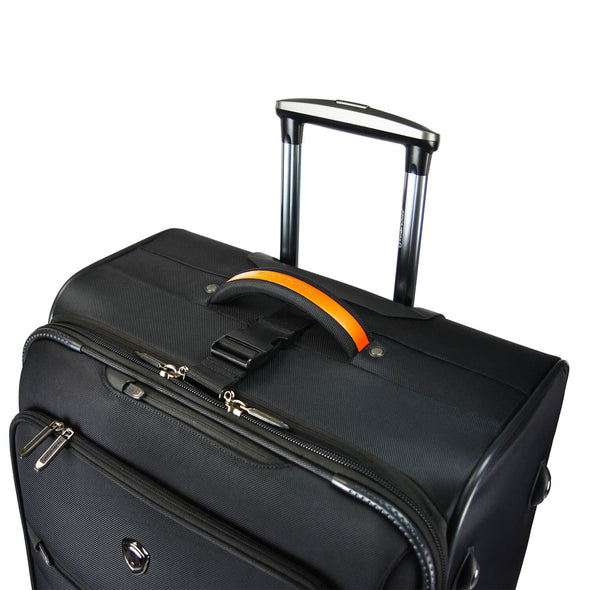 An image of a black luggage with a handle.