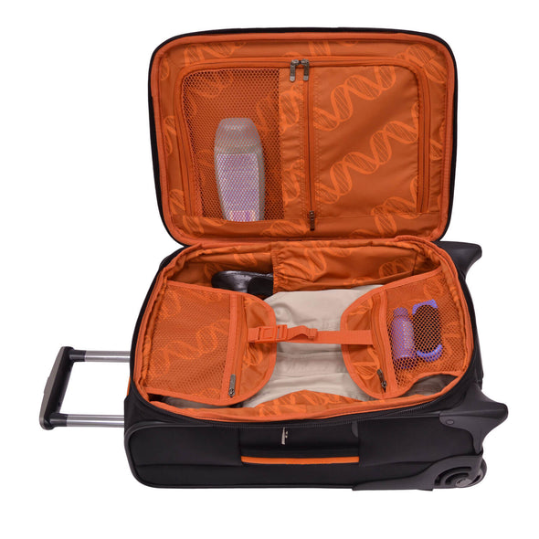 An image of the interior of a black luggage with orange accents.