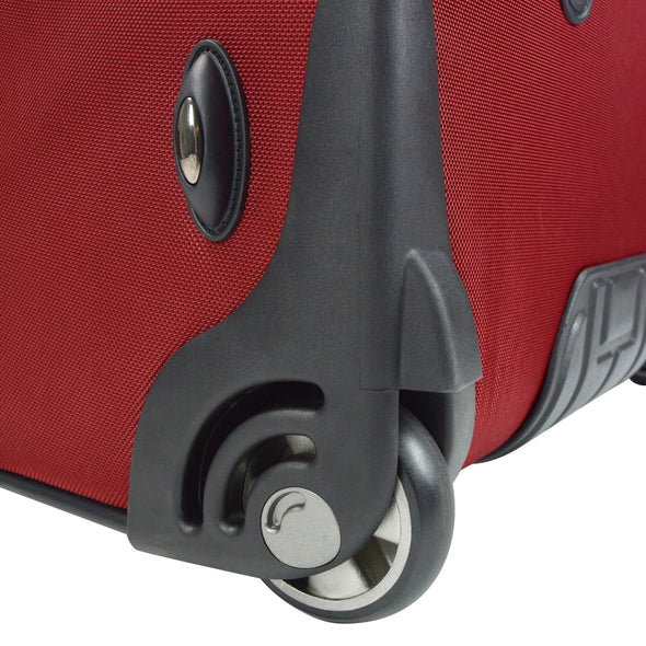 An image of the crash guard wheels on a red luggage.
