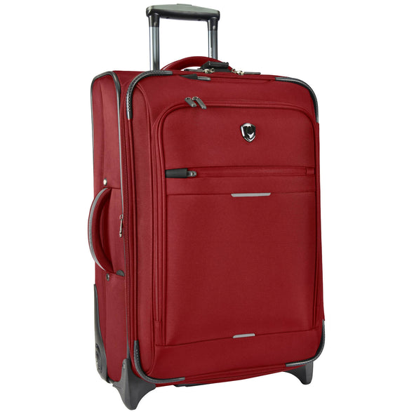 An image of a red luggage with gray accents.