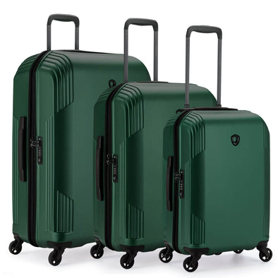 An image of a green luggage set.