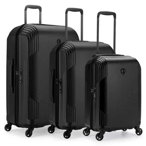 An image of a black luggage set.