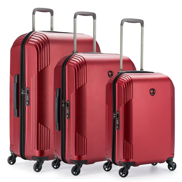 An image of a red luggage set.