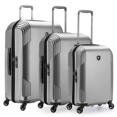 An image of a silver luggage set.