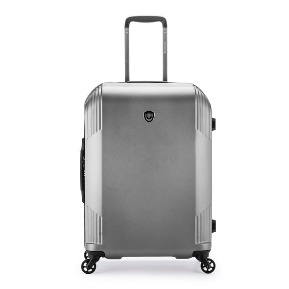 An image of a silver luggage.