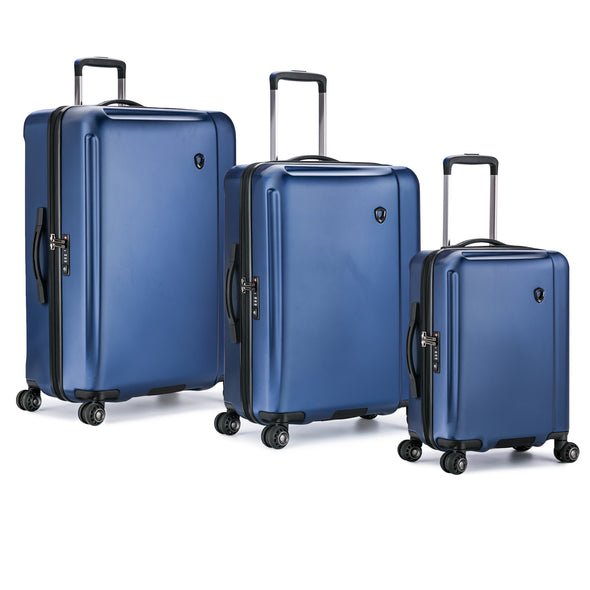 An image of a blue luggage set.