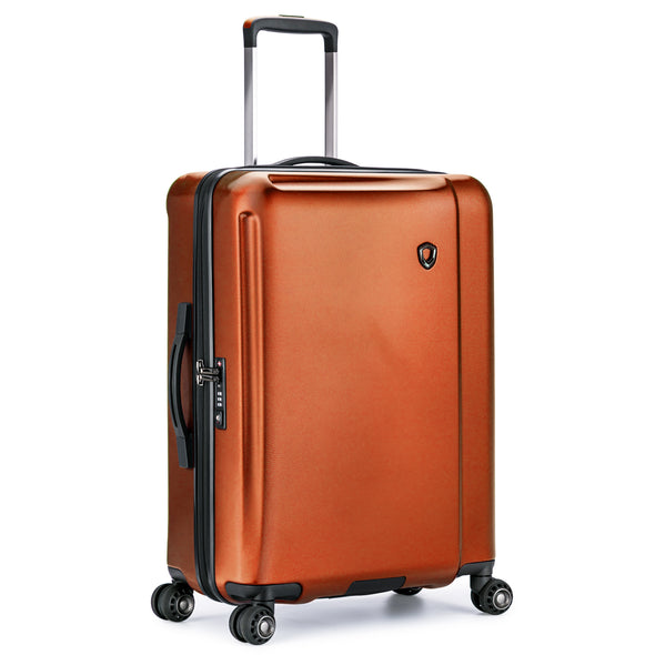 An image of an orange luggage.