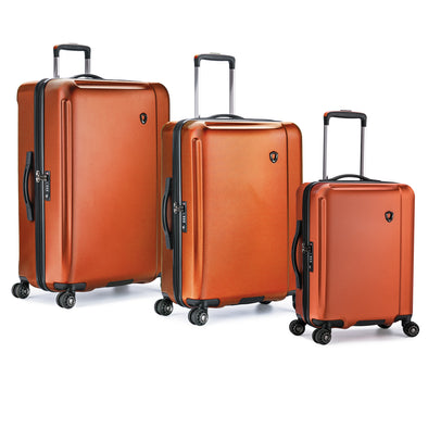 An image of an orange luggage set.