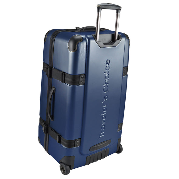 An image of the back of the blue luggage.