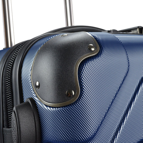 An image of the corner guards on the blue luggage.