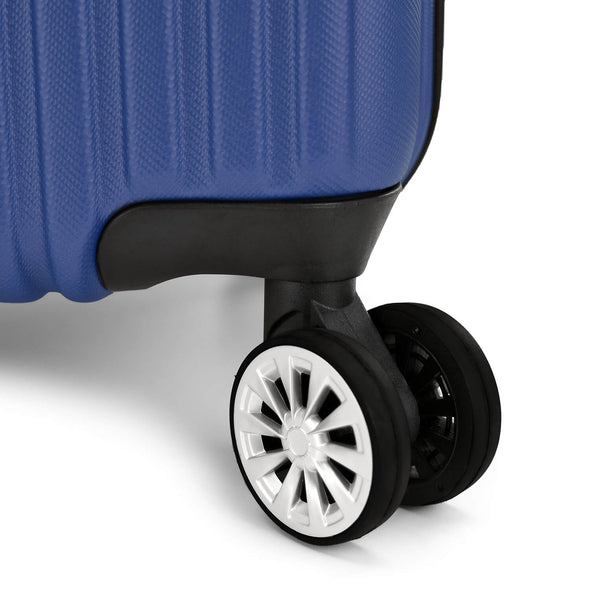 An image of a blue luggage and its wheels.