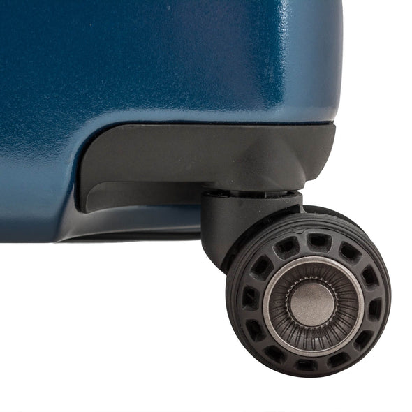 An image of a blue luggage wiht the cyclone spherical wheel system.