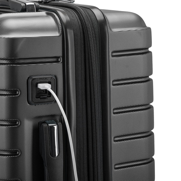 USB port connected to your portable charger inside your luggage to charge your personal devices.