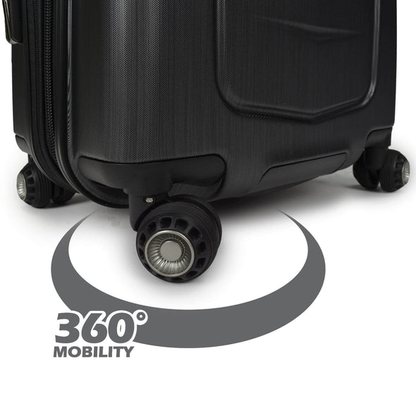 An image of a black luggage showing the 360 degrees capabilities of the cyclone spherical wheels.