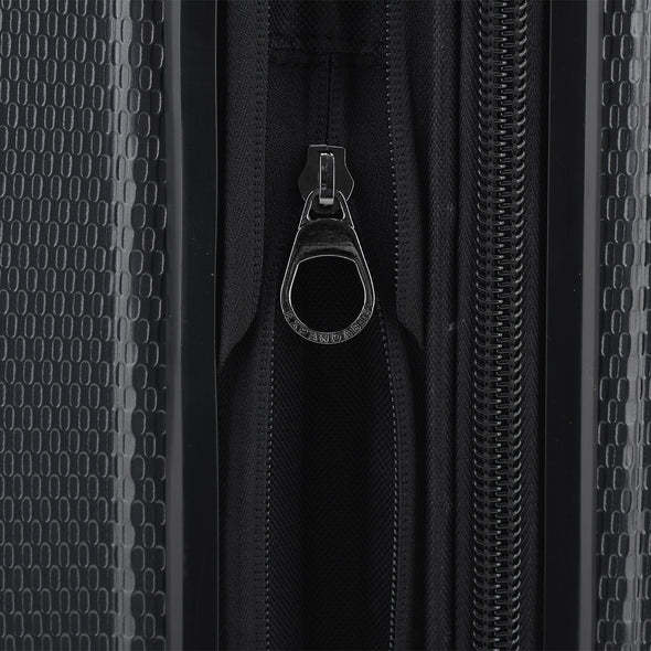 An image of the expandable storage on the gray luggage.
