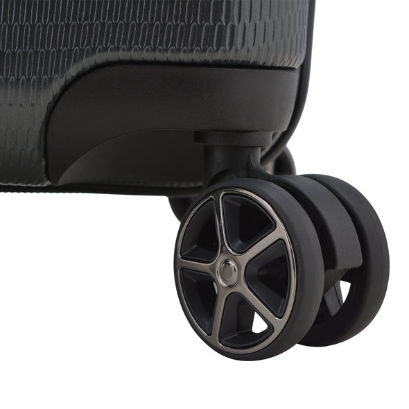 An image of the wheels on the gray luggage.