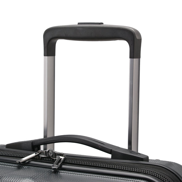 An image of the handle on the gray luggage.
