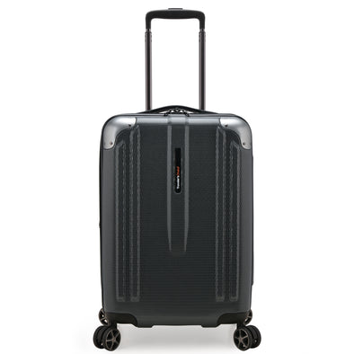 An image of a gray carry on.
