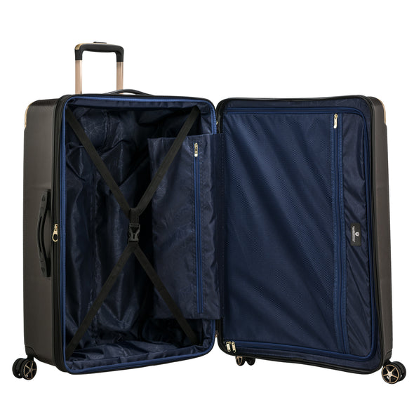 An image of the blue interior on the gray luggage.