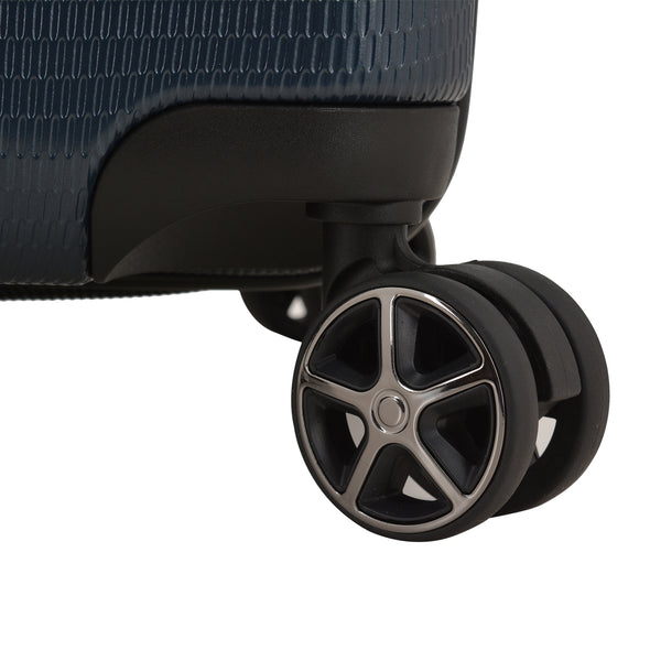 An image of the wheels on the blue luggage.