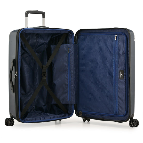 An image of the blue interior on the blue luggage.