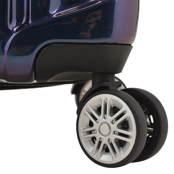 An image of a purple luggage with silver wheels.