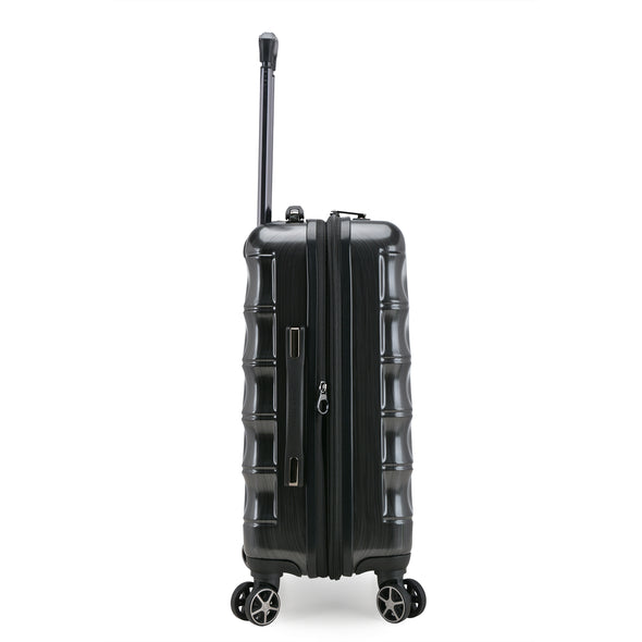 An image of the left side of the charcoal luggage.
