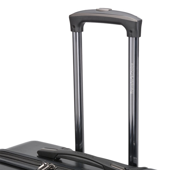 An image of the handle on a charcoal luggage.