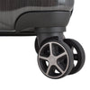 An image of the wheels on the charcoal luggage.