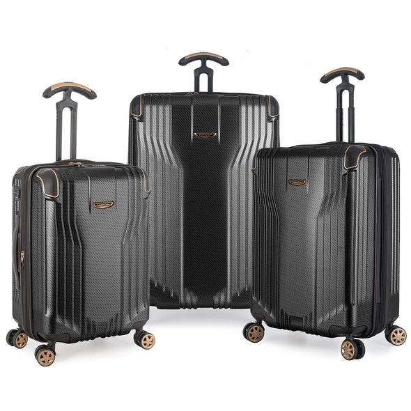 An image of a black and gold luggage set.