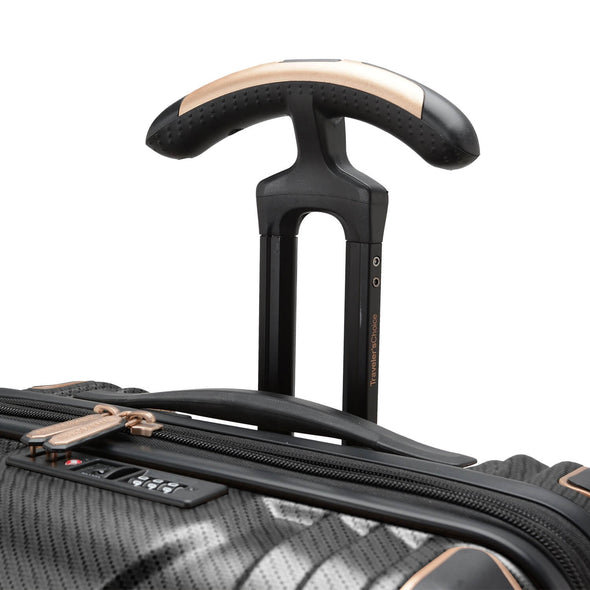 An image of a black luggage with a gold handle.