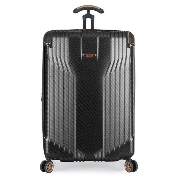 An image of a black and gold luggage.