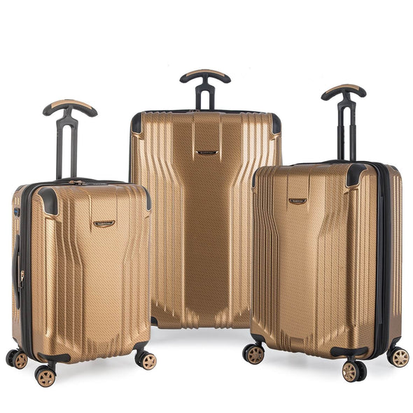 An image of a gold luggage set.