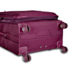 An image of a burgundy luggage laying on its back.